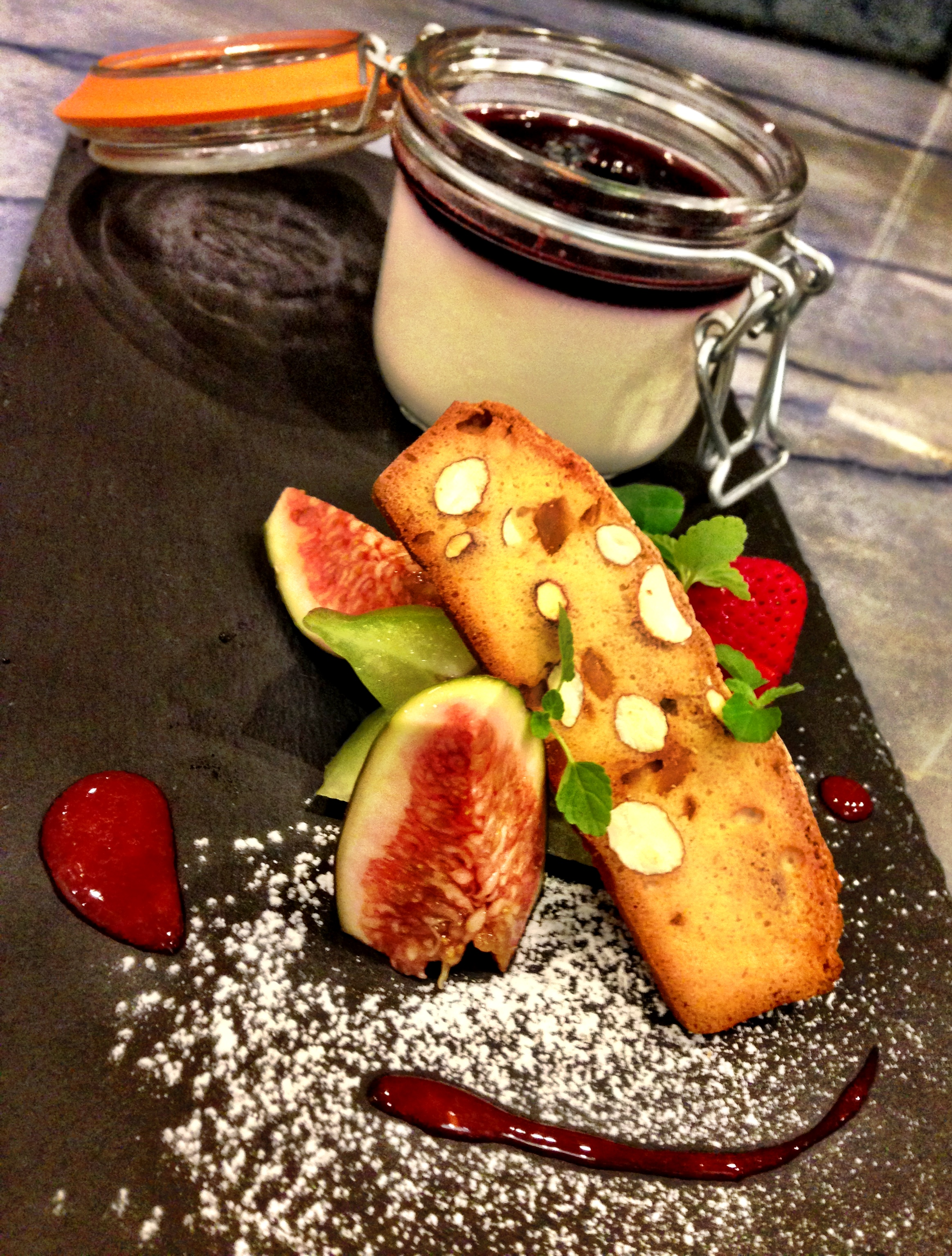 Chardonnay grape panna cotta