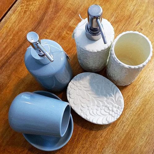 set 3 pezzi per bagno in ceramica