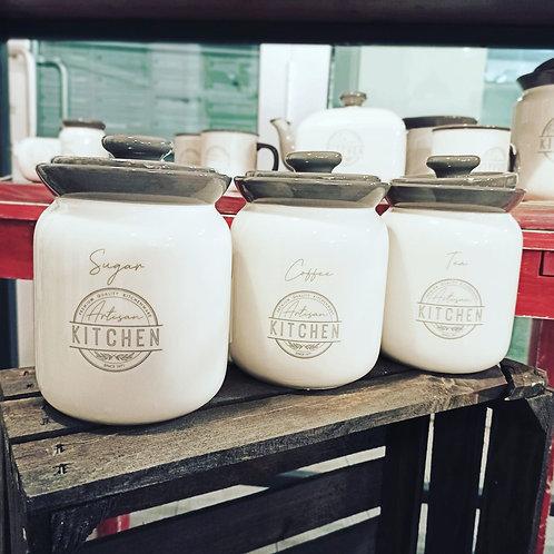 vaso in ceramica linea kitchen  zucchero, caffè e tè