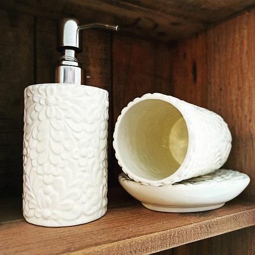 set bagno 3 pezzi in ceramica bianca decorata