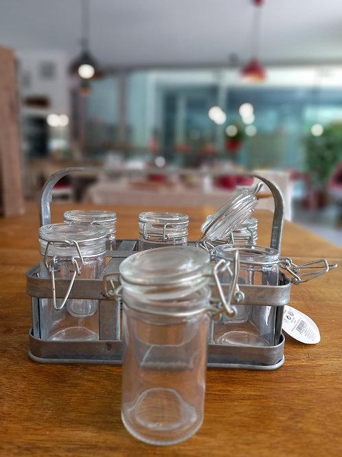 porta vasetti per spezie in alluminio e vetro