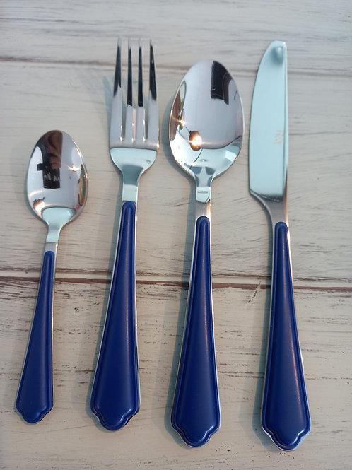 set da 24 posate in acciaio e resina blu Rose e Tulipani
