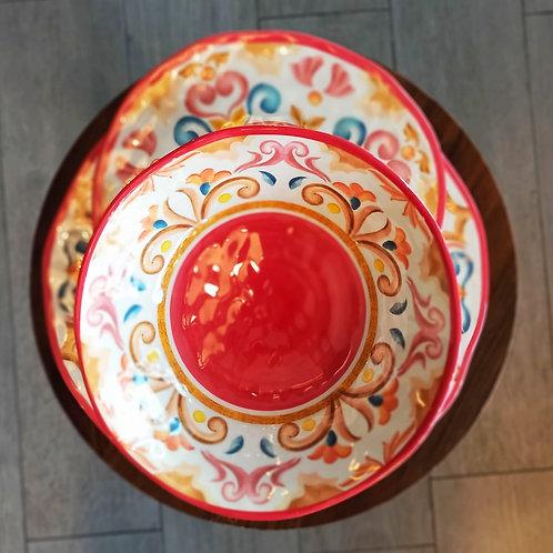 set da 6 piatti in resina rose e tulipani stile Orientale pic nic