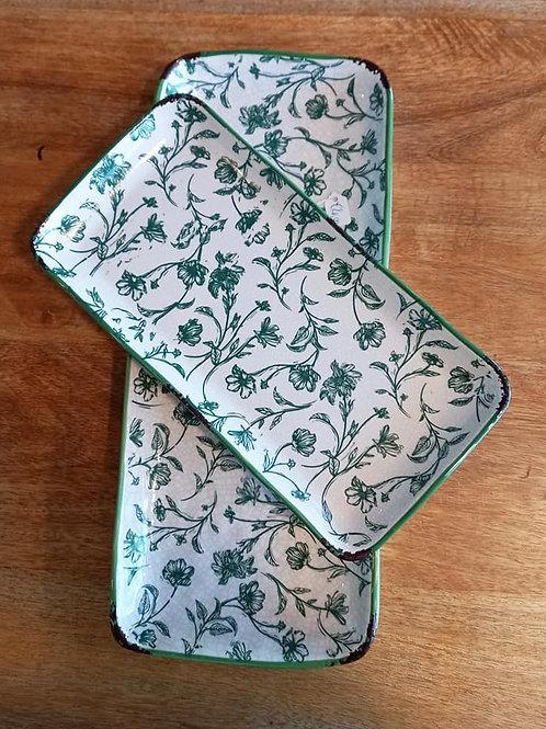 vassoio in ceramica verde cm26 x cm 13