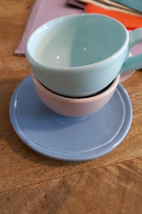 tazze caffè in ceramica color pastello