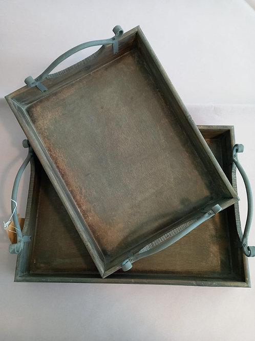 set da 2 vassoi in legno invecchiato e manici in ferro