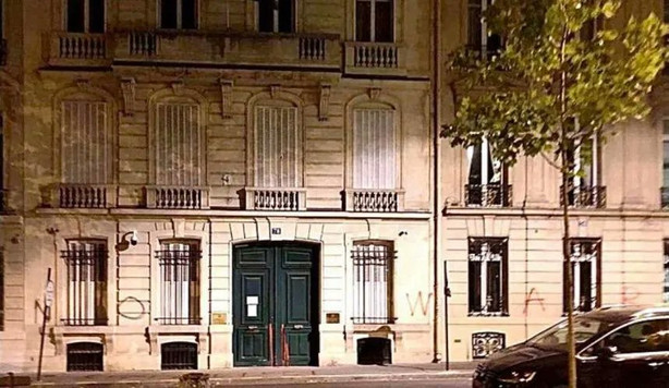"""No War"" & ""Stop Aliyev"" Tagged On The Walls Of Azerbaijani Embassy In Paris Overnight."