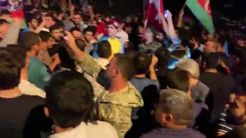 AZERI PROTESTERS CHEER GREY WOLVES - TERRORIST FASCIST ORGANIZATION