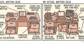 Ideal writing desk vs actual.