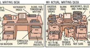 Ideal writing desk vs actual.