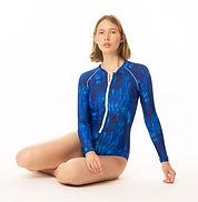 בגד ים שלם שרוול ארוך הדפס כחול