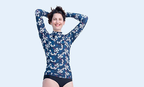 חולצת גלישה לנשים פרחונית עם שרוול ארוך
