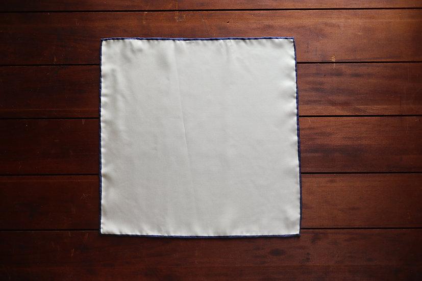 White and Blue Border Silk Pocket Square