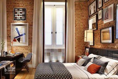 Настенная плитка под кирпич в спальне