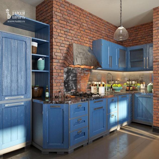 Кухонная зона в стиле лофт
