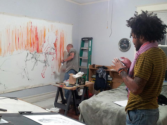 Aort & colleague in the studio