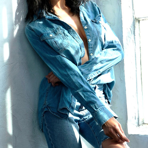 70's Fitted Denim Shirt