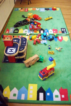Cars on mat