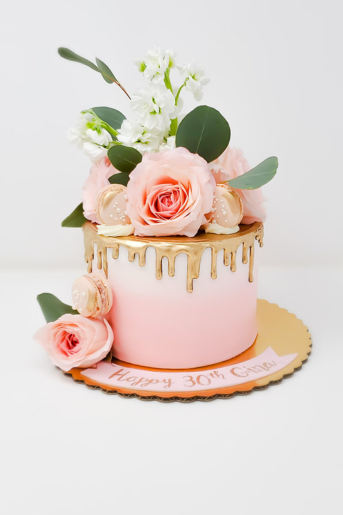 Ombre Cake with Gold Drip and Floral Arrangement