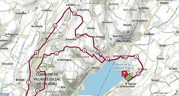 Parcours 14km   Trail du Lac de Paladru