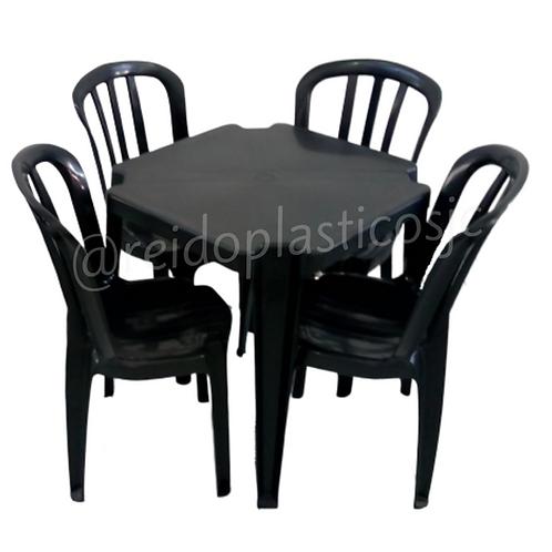 Conjunto Mesa Quadrada e 4 Cadeiras Bistrô
