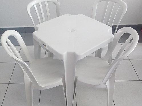 Conjunto Mesa Quadrada e 4 Cadeiras Bistrô - Branca