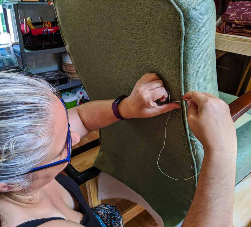 Sewing the Back Panel on A Chair