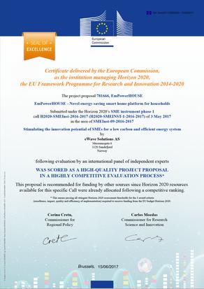 "EU awards Ewave System ""Seal of excellence"""