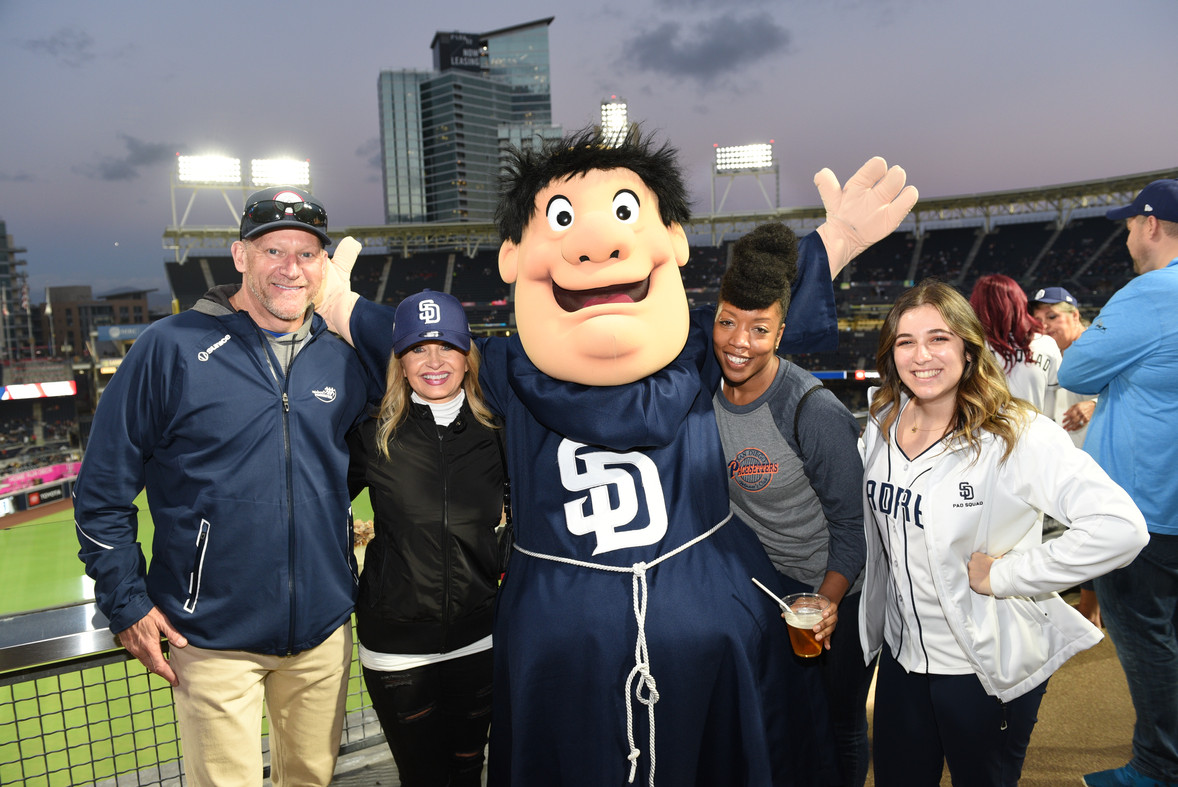 Having a ball at the Padres game at Petco Park, atop the Western Metal Supply Co.