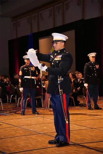 A Marine reads