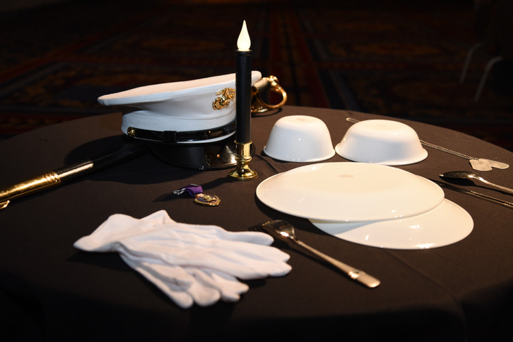 A table dressed in black, a core Marine tradition.