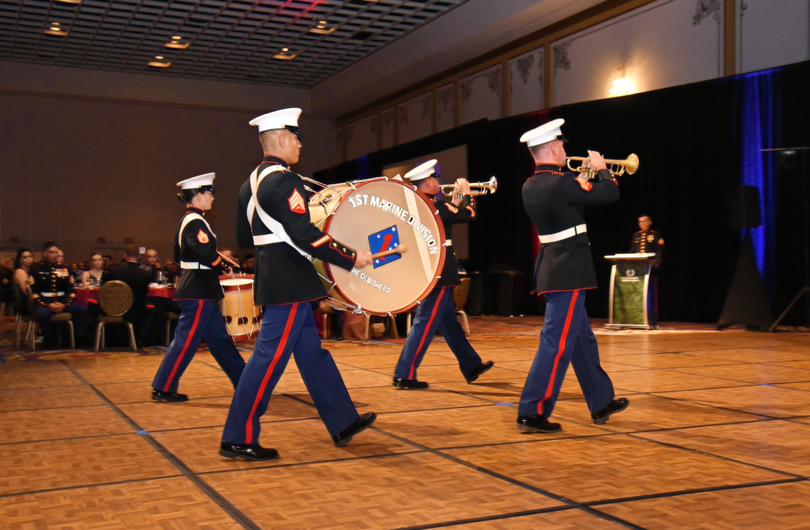 1st Marine Division's Band walking perfectly in time