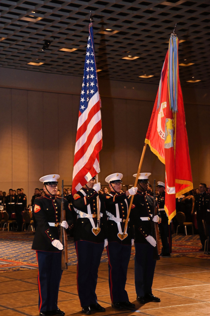 The Marine Corps Flag dips during the National Anthem