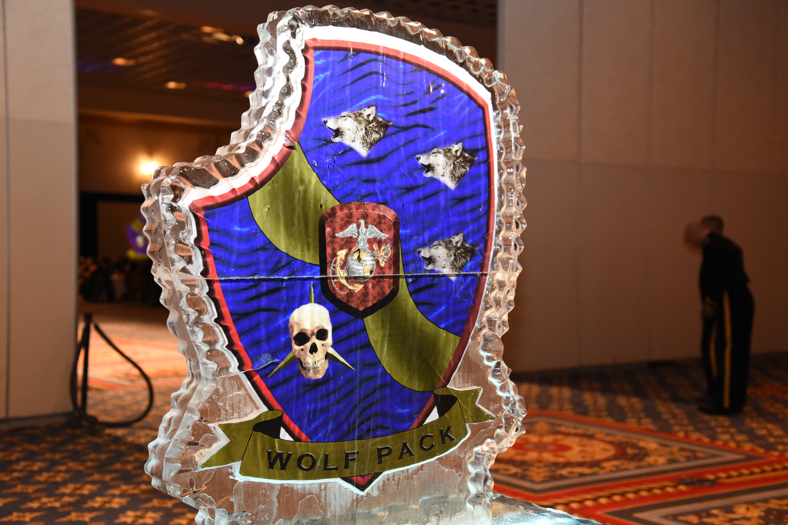 An ice sculpture at a Marine Corps Ball in Las Vegas, NV.