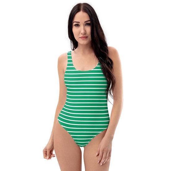 green strip one-piece swimsuit