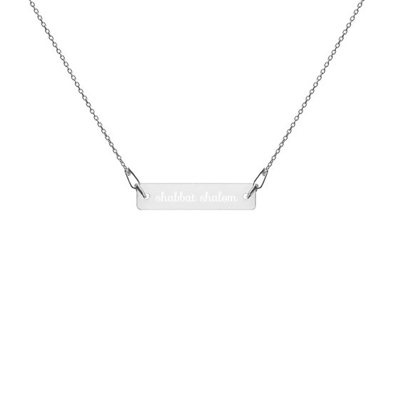 Shabbat Shalom Engraved Silver Necklace