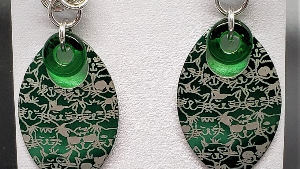 Green Cat Scale Earrings