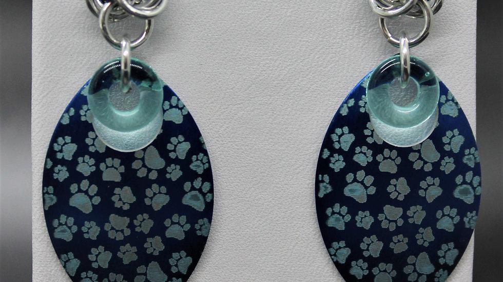 Dog Paw Scale Earrings-Blue