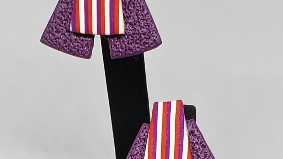 Purple Stripe Earrings