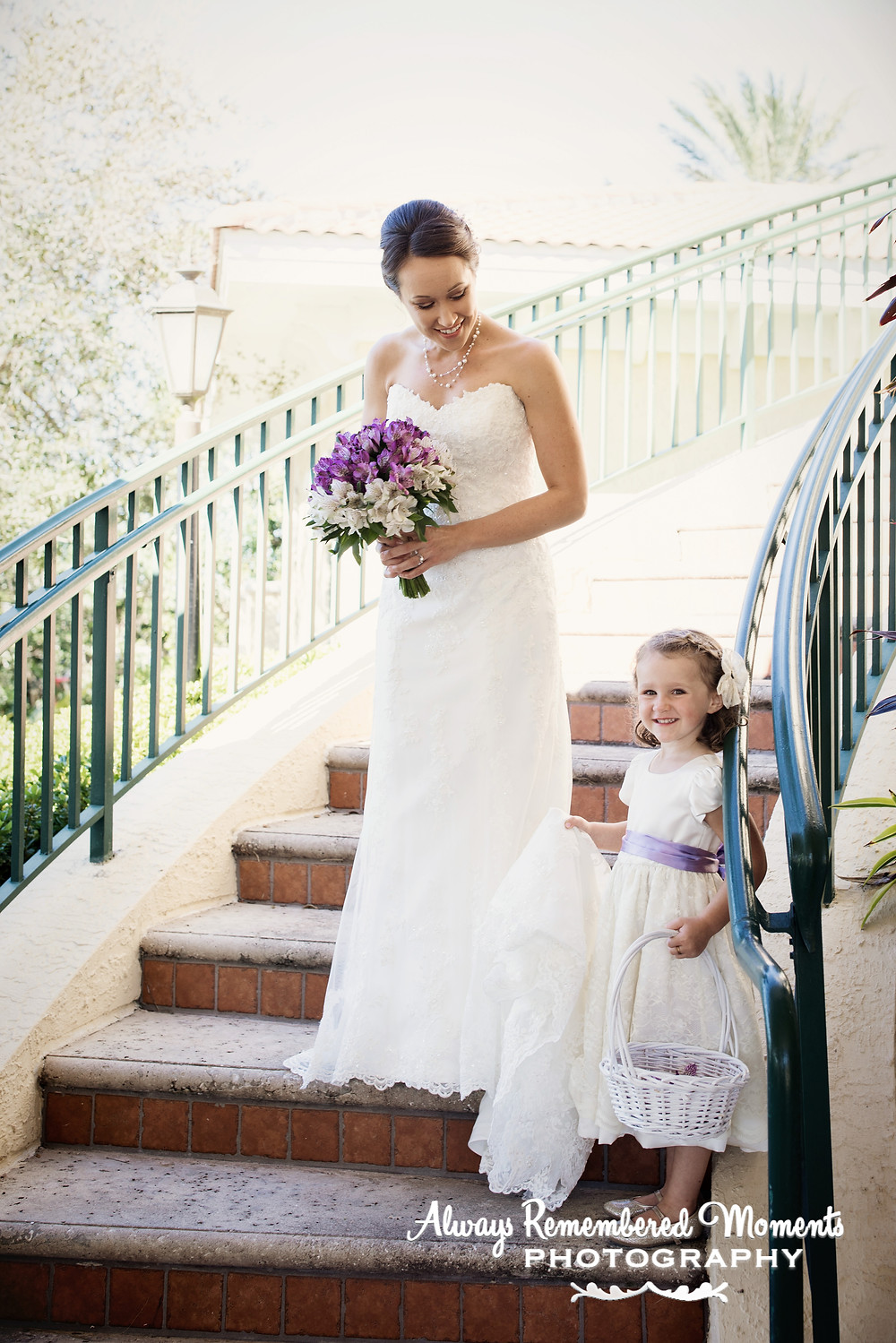Traditional Bride & Flowergirl Portrait