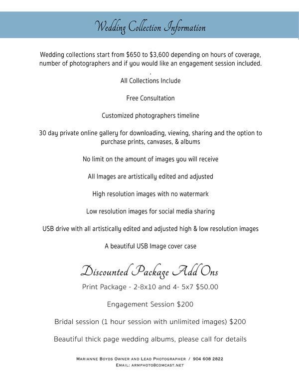 Wedding Collection information Sheet Nov