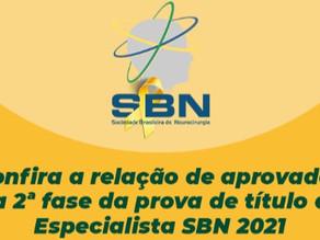 Confira a relação de aprovados na 2a fase da prova de título de Especialista SBN 2021