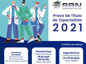 Prova de título de Especialista SBN 2020 - Confira as datas!