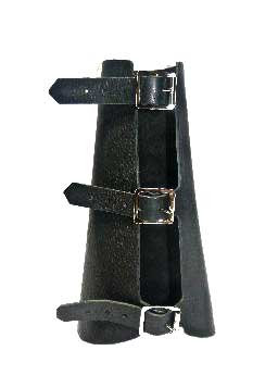 Black Leather Armband with Triple Buckle Fastening
