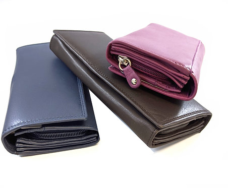 Ladies leather large fold over multifunction purse / Wallet