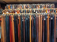 leather belts at Cactus leather shop in Camden Town market
