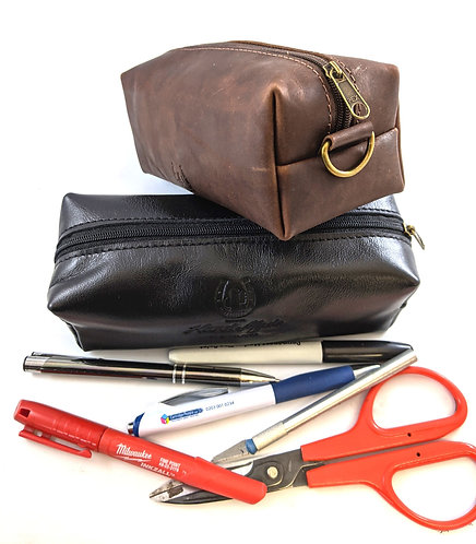 Top Quality Leather Zip Pen Case, Personalized , High Quality Cosmetic case