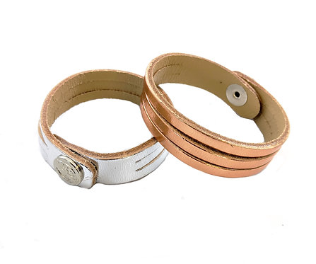 Ladies lucky leather hand strap elegant colours silver-Rose Gold