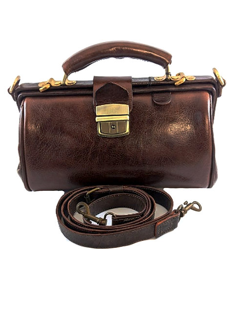 vintage retro doctor leather bag with special brass locks