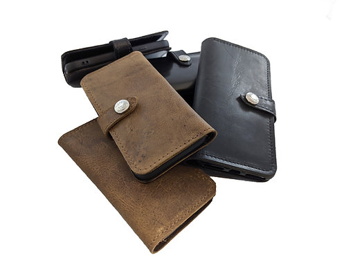 Apple iPhones handmade Genuine Leather Wallet phone  Case with card slots / slip